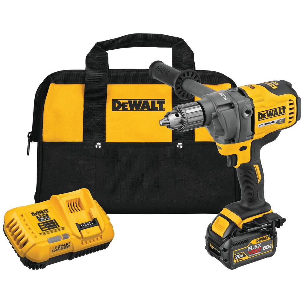 DEWALT FLEXVOLT 60-Volt MAX Lithium-Ion Cordless Brushless 1/2 in. Mixer/Drill with E-Clutch with Battery 2.0Ah, Charger & Bag