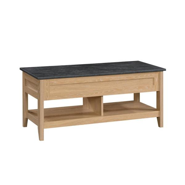 August Hill 44 in. Dover Oak/Slate Accent Large Rectangle Composite Coffee Table with Lift Top