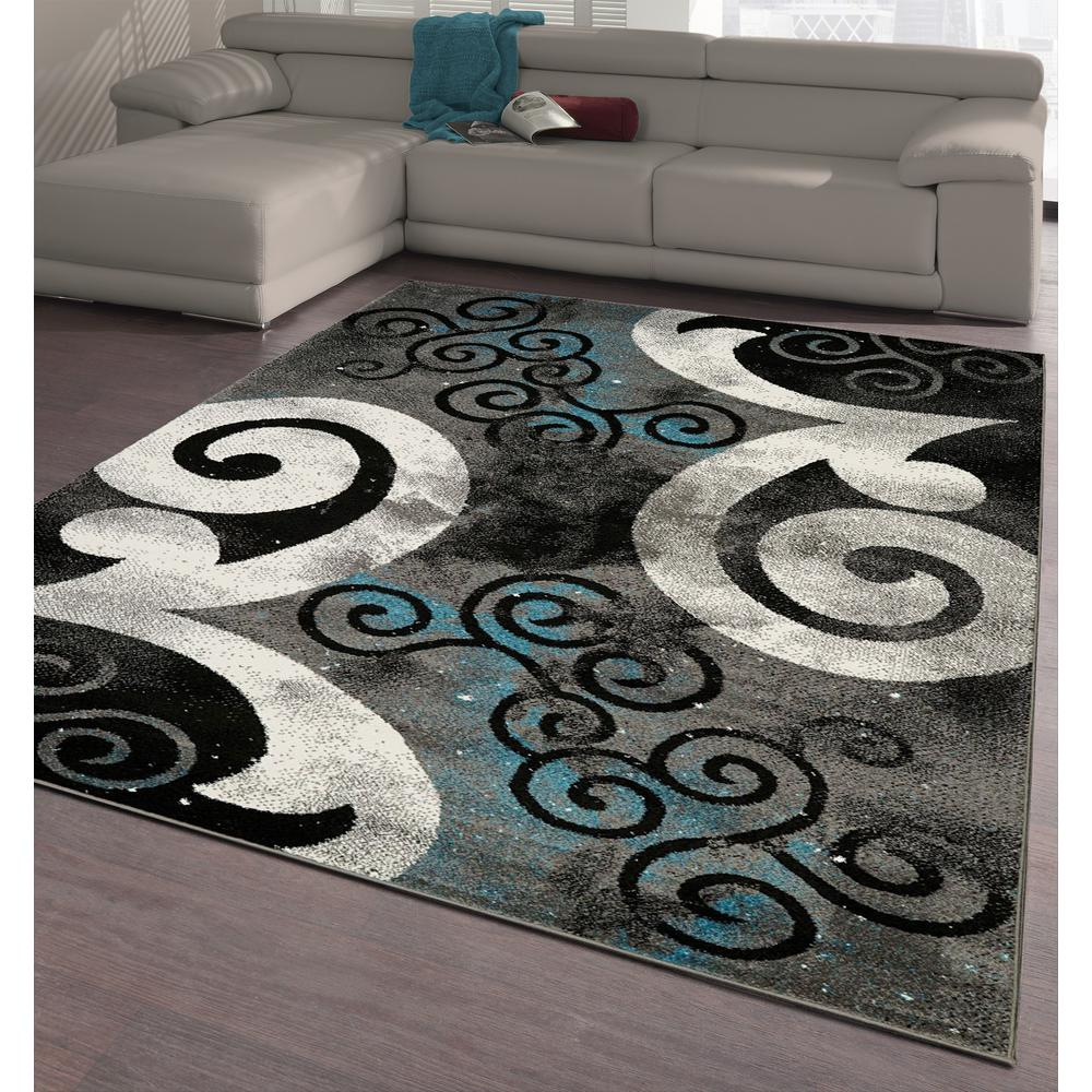 City collection blue curves 5 ft x 7 ft indoor area rug