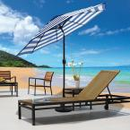 9 ft. Steel Crank and Tilt Stripe Market Patio Umbrella in Royal Blue and White