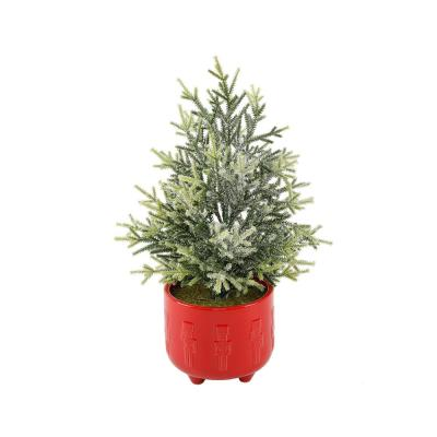 18.5 in. H Frosted Artificial Faux Chiristmas Tree in 6 in. Cracker Ceramic Footed Pot