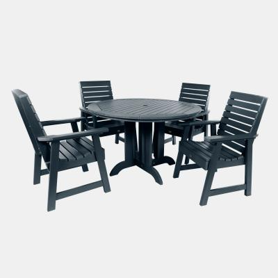 Weatherly Federal Blue 5-Piece Plastic Round Outdoor Dining Set