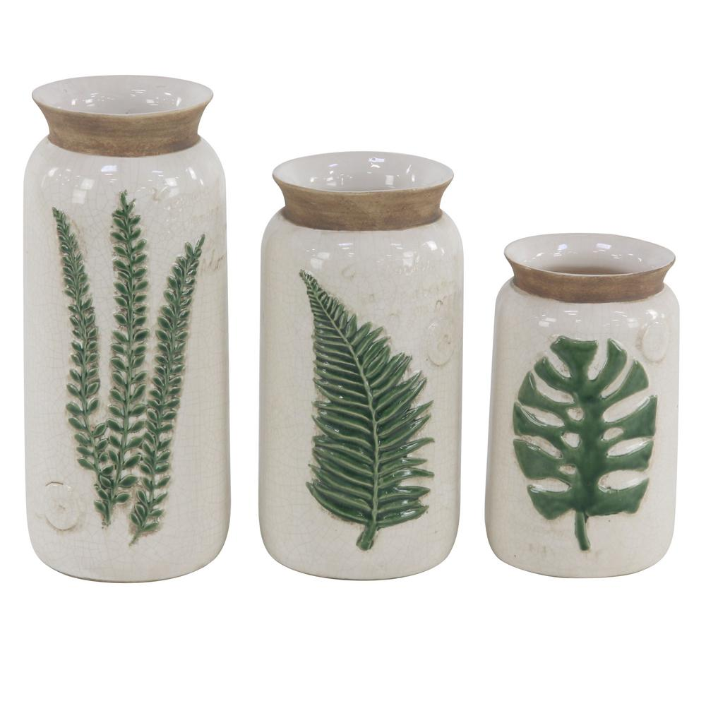 Country Cottage White Ceramic Vases- Set of 3