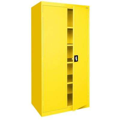 Elite Series 78 in. H x 36 in. W x 24 in. D 5-Shelf Steel Recessed Handle Storage Cabinet in Yellow