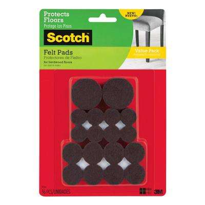 Scotch Multi Size Brown Round Surface Protection Felt Floor Pads Value Pack ((36-Pack)(Case of 24))