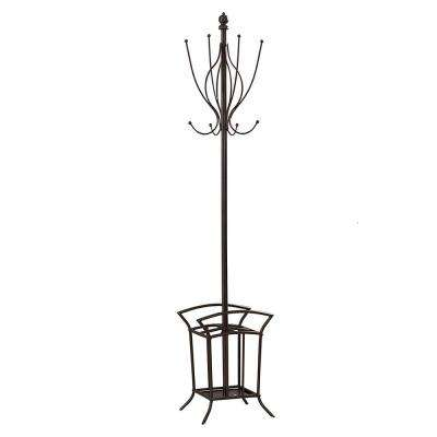Bronze Metal 8-Hook Classic Hall Tree with Umbrella Holder