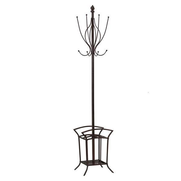 Kings Brand Furniture Bronze Metal 8-Hook Classic Hall Tree with Umbrella