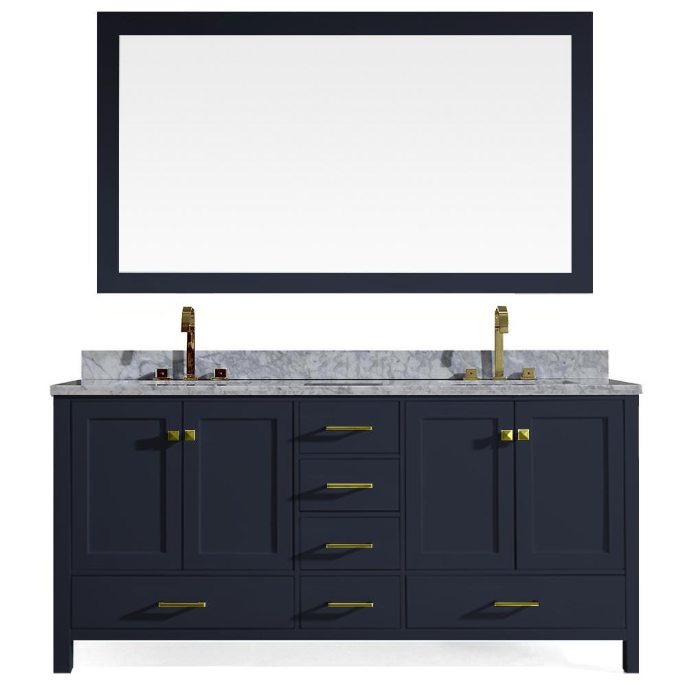 Ariel Cambridge 73 in. W x 22 in. D Vanity in Midnight Blue with Marble Vanity Top in White with White Basin and Mirror