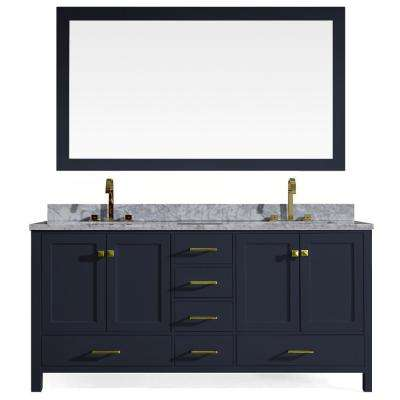 Cambridge 73 in. W x 22 in. D Vanity in Midnight Blue with Marble Vanity Top in White with White Basin and Mirror