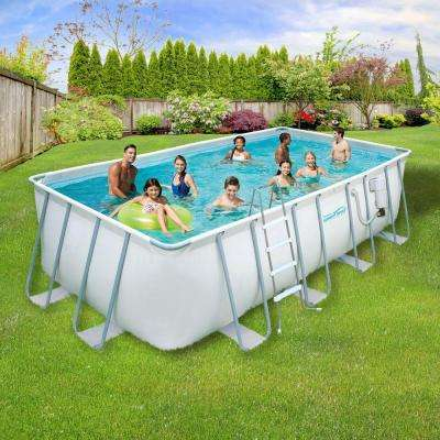 9 ft. x 18 ft. Rectangular 52 in. Deep Metal Frame Swimming Above Ground Pool