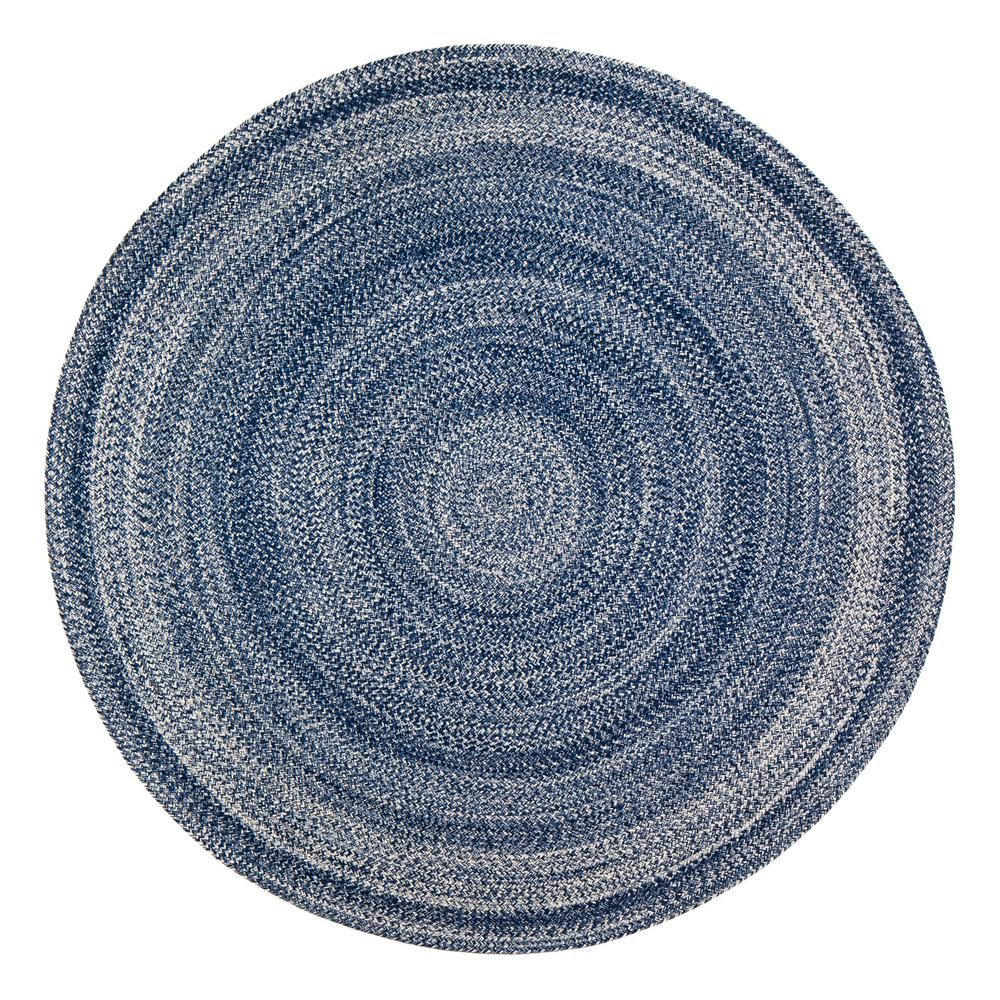 Anji Mountain Epona Braided 8 Ft Round Blue Area Rug