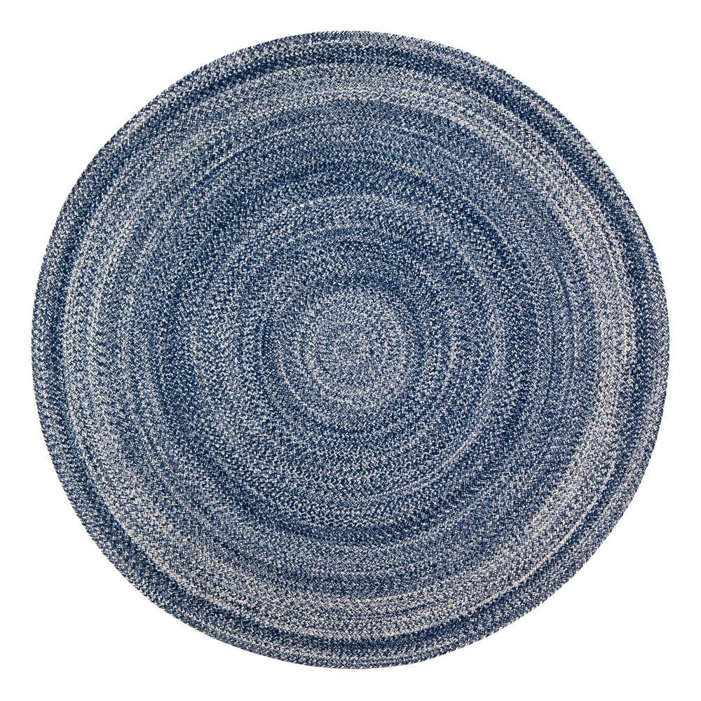 Epona Braided 8 ft. Round Blue Area Rug