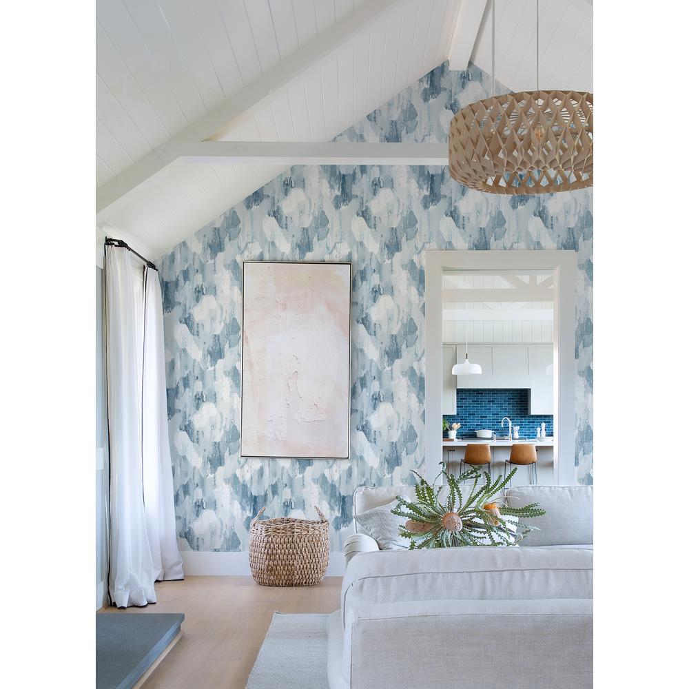 Mahi Blue Abstract Strippable Non Woven Wallpaper