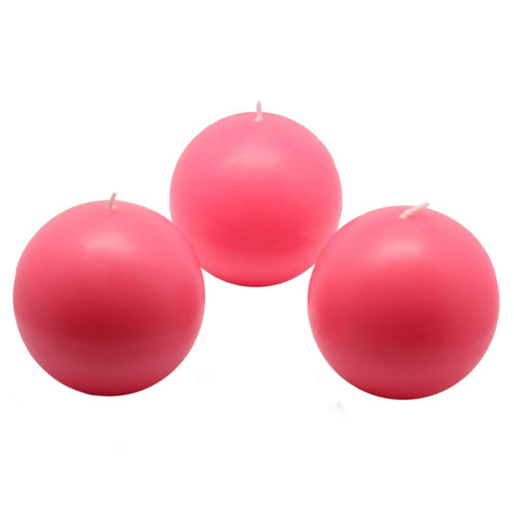 3 in. Hot Pink Ball Candles (6-Box)