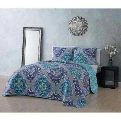 Gemma 3-Piece Blue/Orchid King Quilt Set