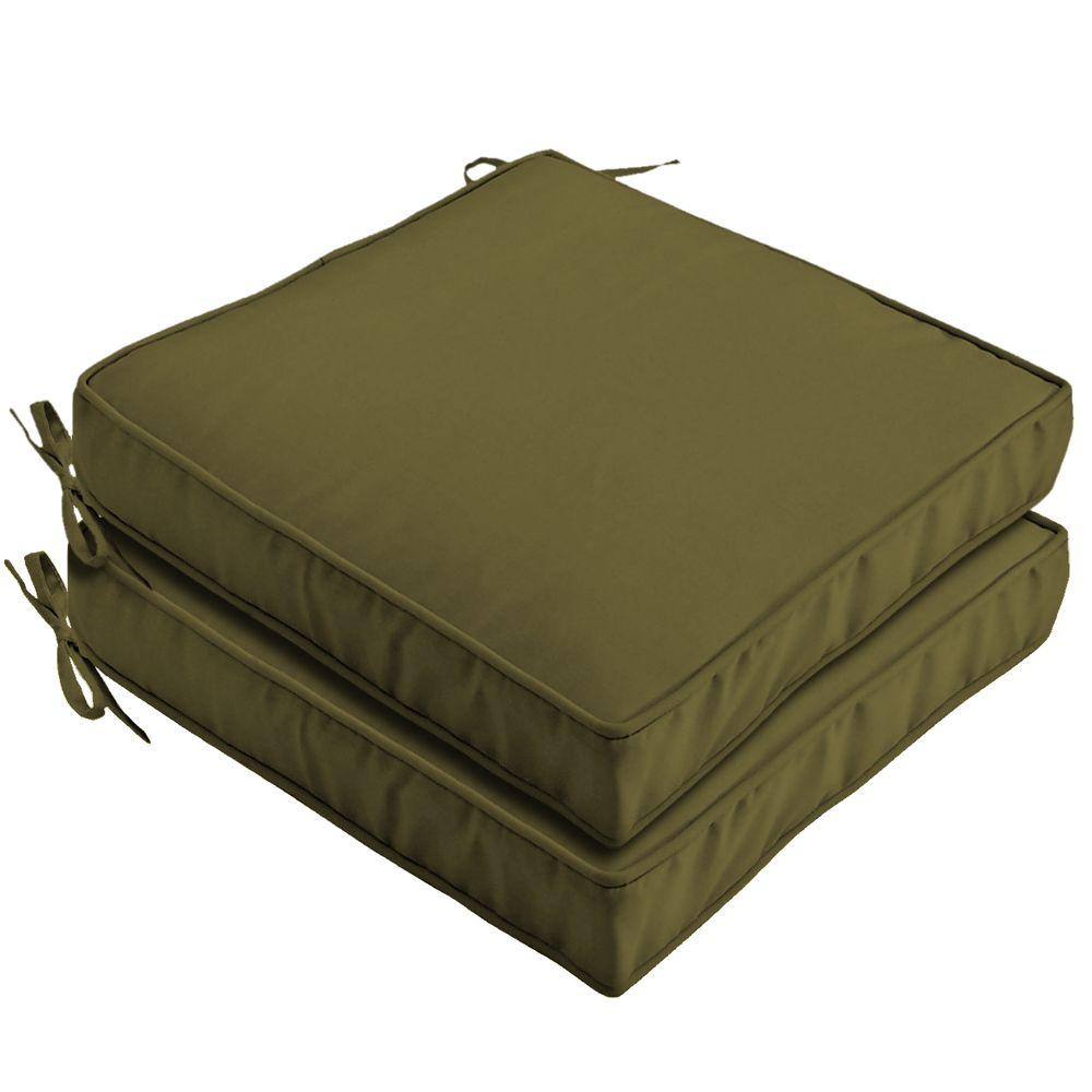 Hampton Bay Olive Green Outdoor Seat Cushion (2-Pack)-DISCONTINUED