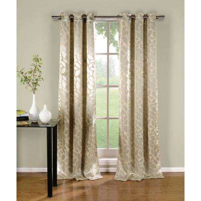 Zayden 38 in. x 96 in. L Polyester Blackout Curtain Panel in Silver- Tan (2-Pack)
