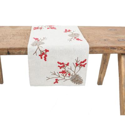 15 in. x 70 in. Christmas Pine Cone Crewel Embroidered Table Runner, Natural