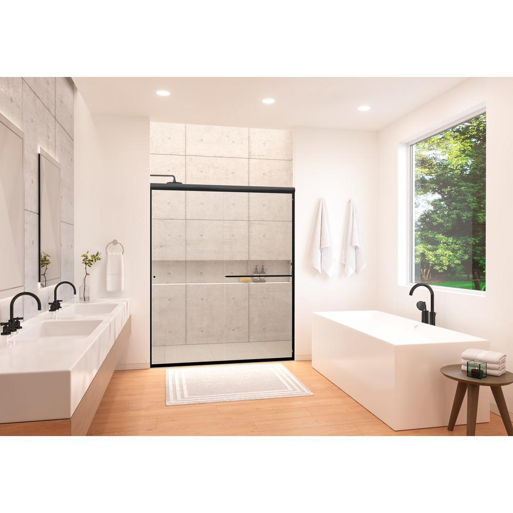 Distinctive 58 in. x 70.5 in. Frameless Sliding Shower Door in Matte Black