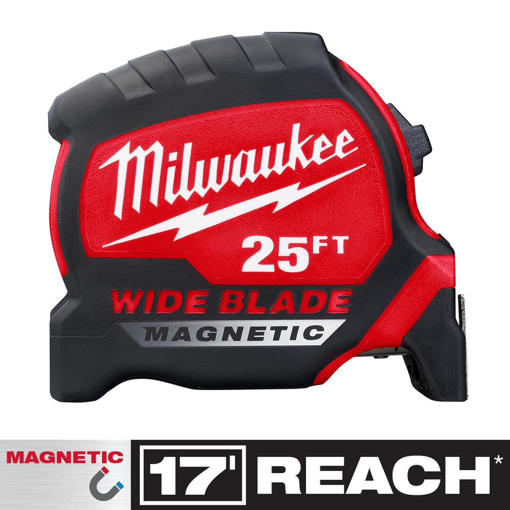 Milwaukee 25 ft. x 1.3 in. Wide Blade Magnetic Tape Measure with 17 ft. Reach