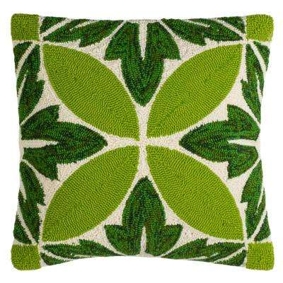 Paradise Floral Green/White Square Outdoor Throw Pillow