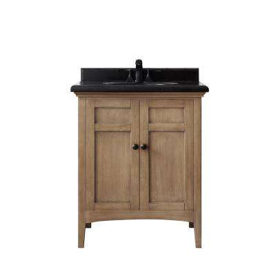 Chartwell 28 in. W x 21 in. D Bath Vanity in Almond Toffee with Granite Vanity Top in Black with White Basin