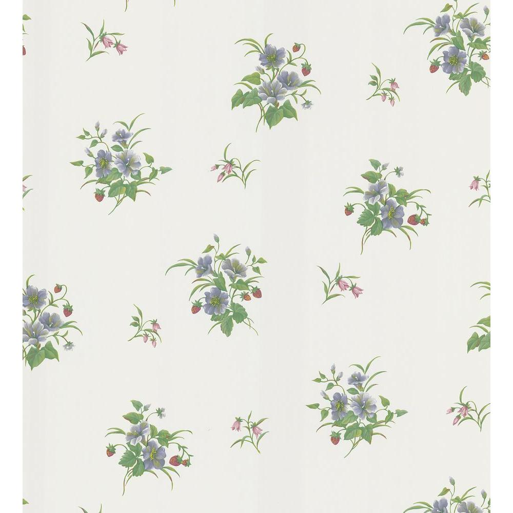Kitchen and Bath Resource II White Blossom and Berry Toss Wallpaper
