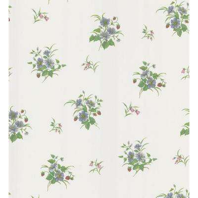 Kitchen and Bath Resource II White Blossom and Berry Toss Wallpaper Sample