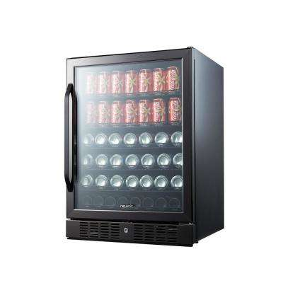 177 Can Built In Beverage Cooler, Black Stainless Steel