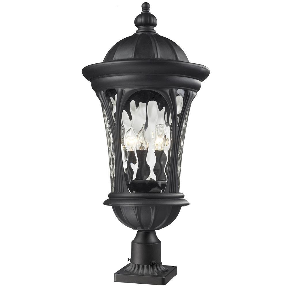 Outdoor Post Light Bulbs: Volume Lighting 1-Light Black Outdoor Post Mount-V8126-5