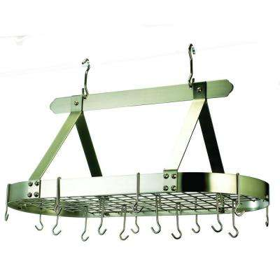 15.5 in. x 19 in. x 36 in. Oval Satin Nickel Pot Rack with Grid and 16 Hooks