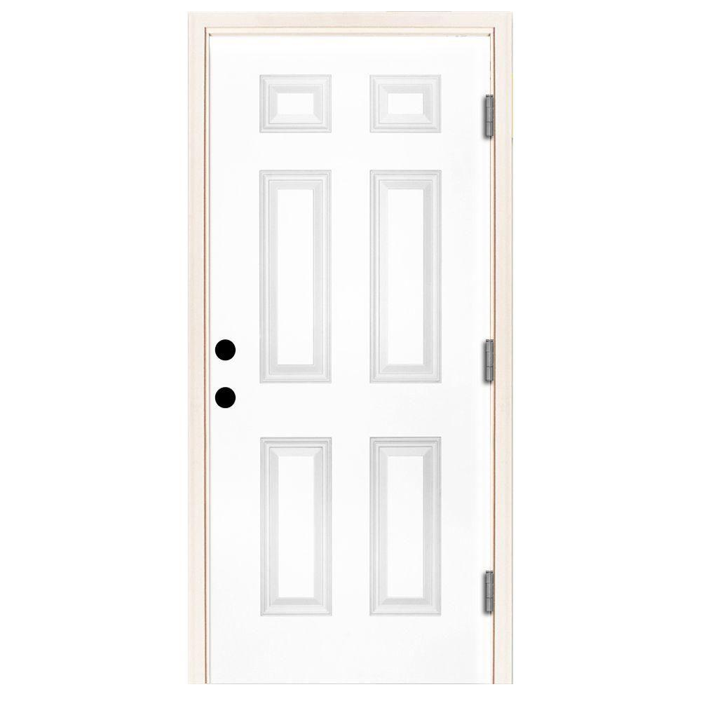 Steves & Sons 30 in. x 80 in. Premium 6-Panel Primed White Steel Prehung Front Door with 30 in. Left-Hand Outswing and 6 in. Wall