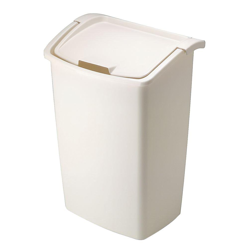 30 Gallon Kitchen Trash Can: Rubbermaid 11.25 Gal. Bisque Dual Action Trash Can