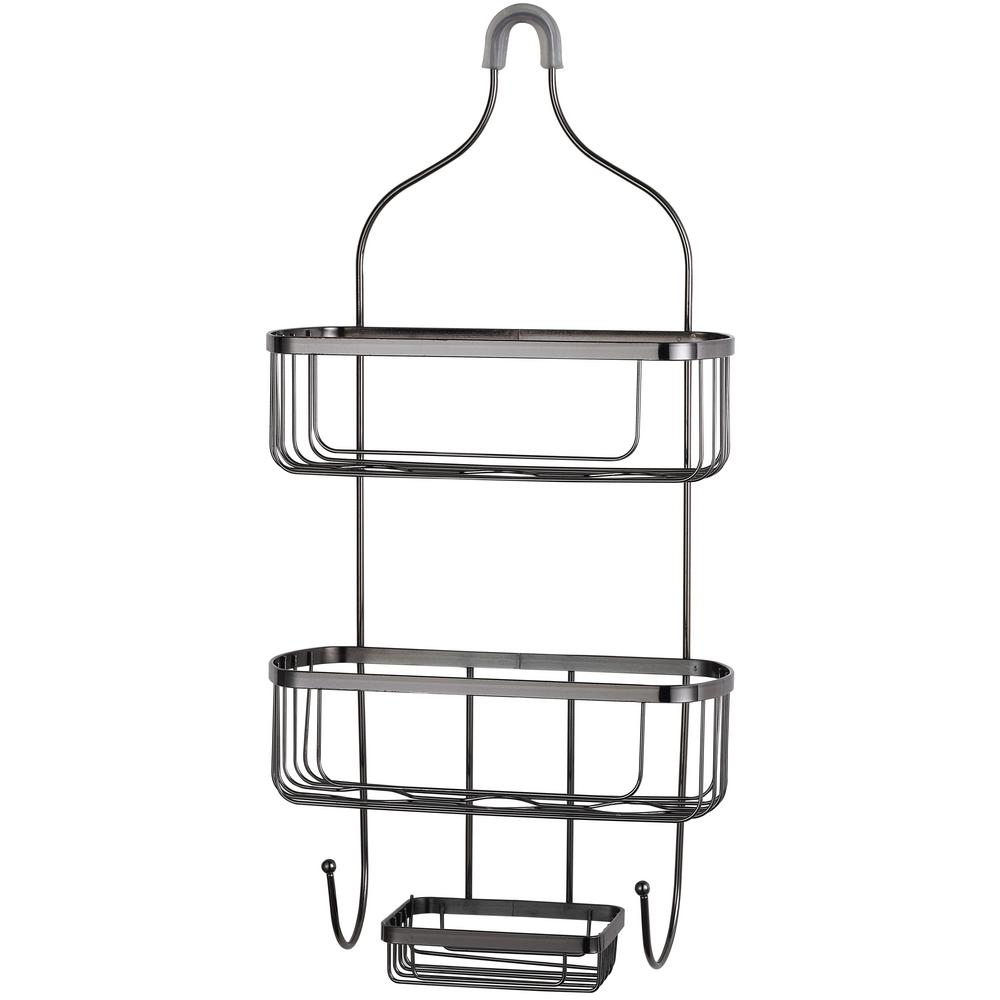 HOME basics Large Black Shower Caddy-SC00747 - The Home Depot