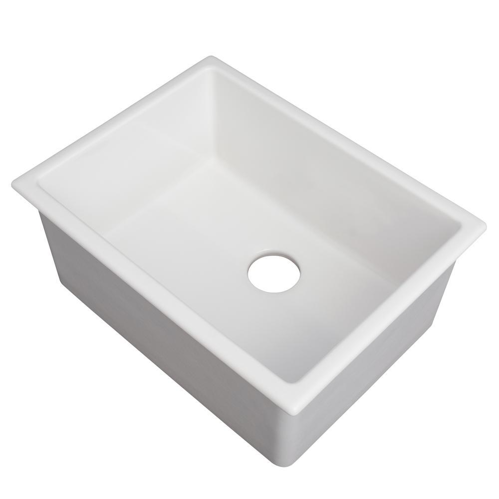 Fireclay 24 in. Dual Mount Single Bowl Sink in White Matte