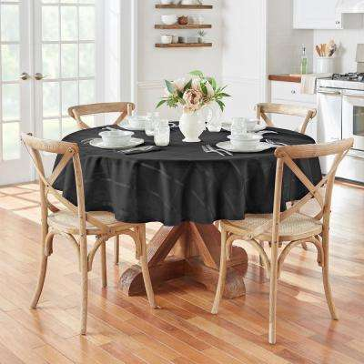 70 in. Round Black Elrene Elegance Plaid Damask Fabric Tablecloth