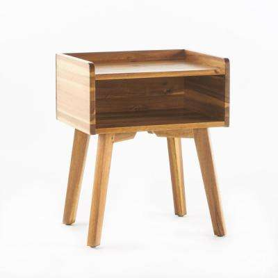 Natural Stained Wood Finish Side Table with Shelf