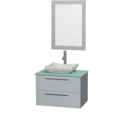 Amare 30 in. W x 20.5 in. D Vanity in Dove Gray with Glass Vanity Top in Green with White Basin and 24 in. Mirror