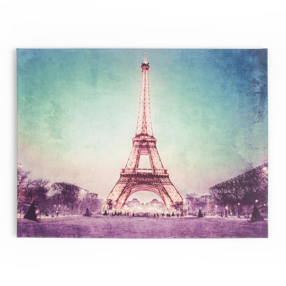 """24 in. x 31 in. """"Paris At Dusk"""" Printed Canvas Wall"""