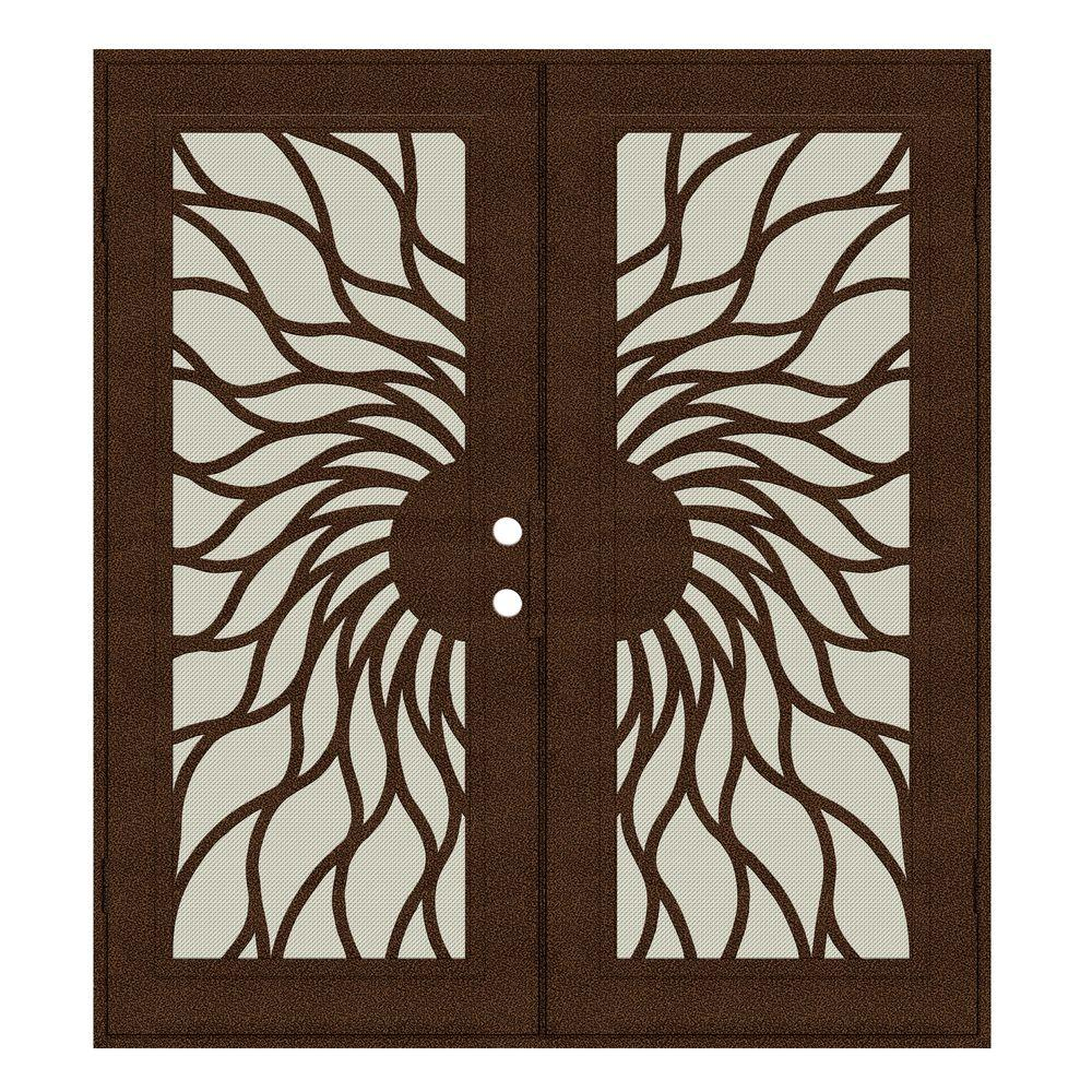 Unique Home Designs 72 in. x 80 in. Sunfire Copperclad Left-Hand Surface Mount Aluminum Security Door with Beige Perforated Screen