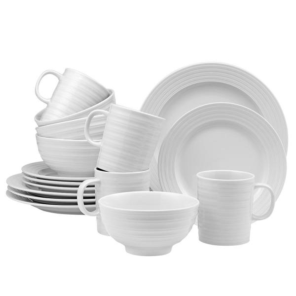 LeBlanc 16-Piece Casual White Porcelain Dinnerware Set (Service for 4)