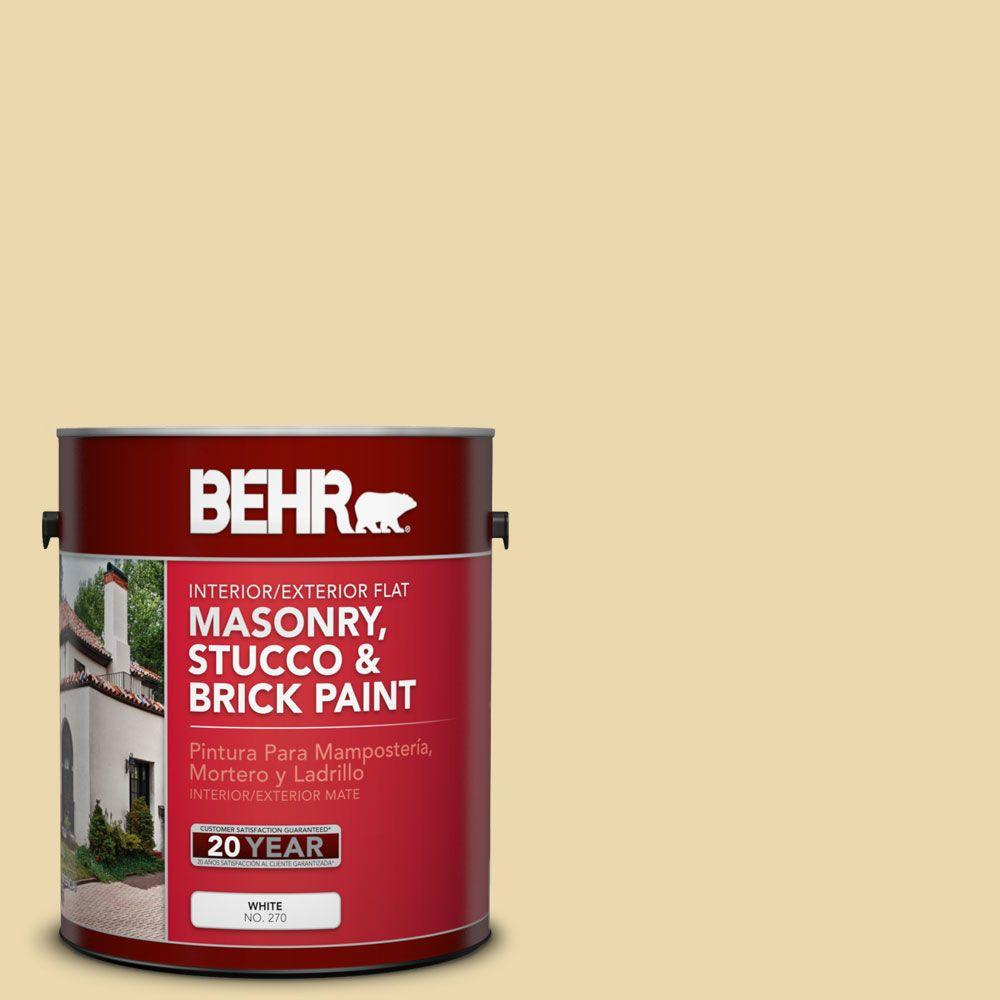 BEHR 1 gal. #MS-35 Woodland Cream Flat Masonry, Stucco and Brick Interior/Exterior Paint