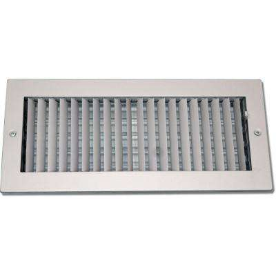 4 in. x 10 in. Steel Ceiling or Wall Register, White with Adjustable Single Deflection Diffuser