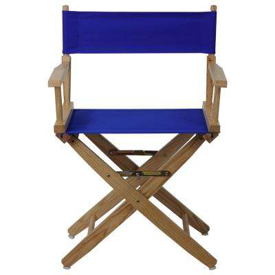 Extra-Wide 18 in. Natural Frame/Royal Blue Canvas American Hardwood Directors Chair