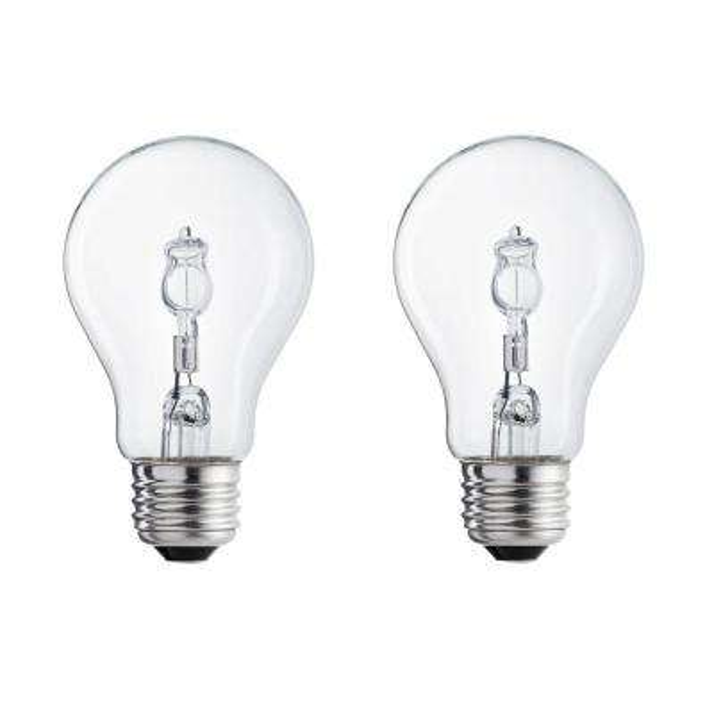 60-Watt Equivalent A19 Halogen Clear Soft White Light Bulb (2-Pack)
