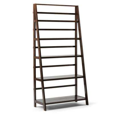 Acadian Solid Wood 72 in. x 36 in. Rustic Wide Bookcase in Tobacco Brown