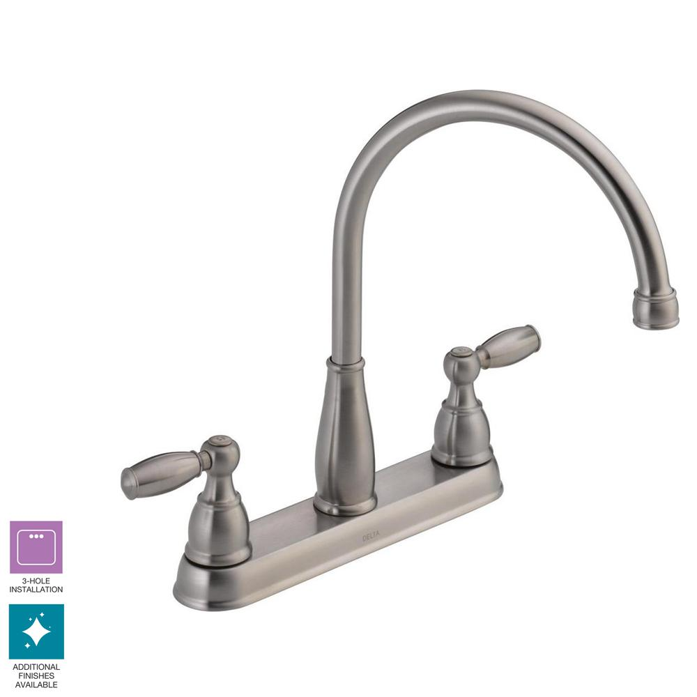 Delta Foundations 2 Handle Standard Kitchen Faucet In Stainless