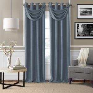 Brooke Navy Polyester Single Blackout Window Curtain Panel - 52 inch W x 108 inch L by