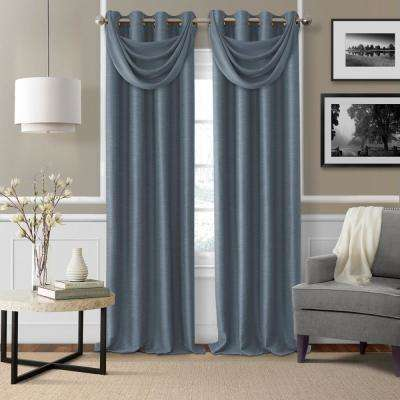 Brooke Navy Polyester Single Blackout Window Curtain Panel - 52 in. W x 84 in. L