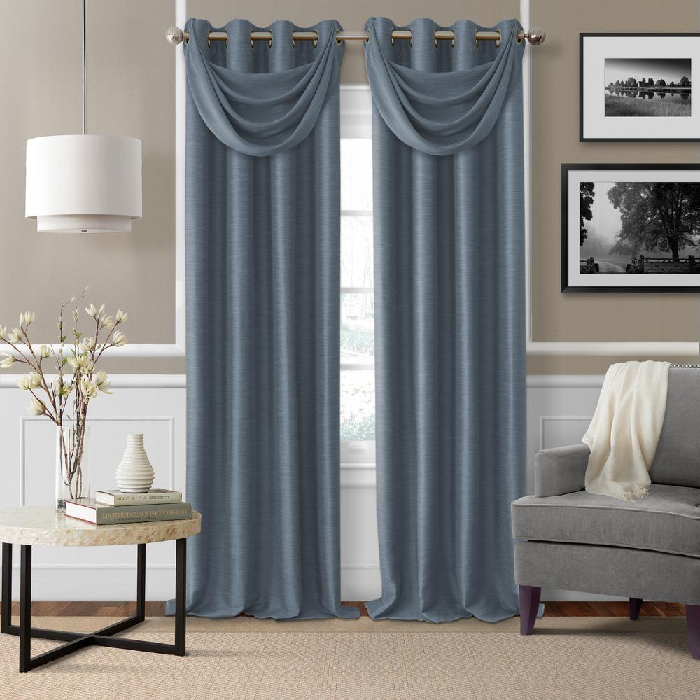 Brooke Navy Polyester Single Blackout Window Curtain Panel   52 In. W X 95  In